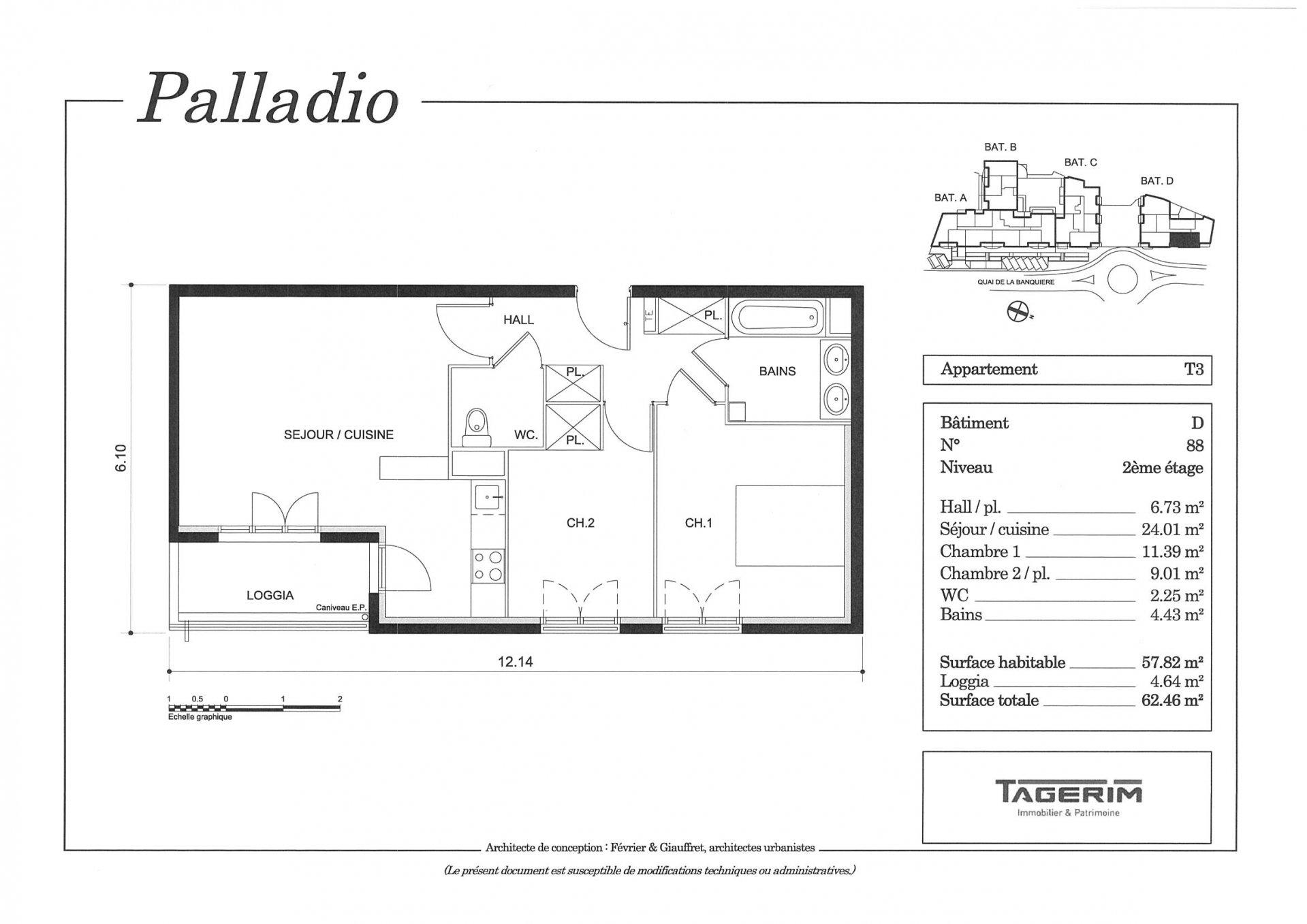 Beau 3P de 57m² + Balcon + 1 place de parking