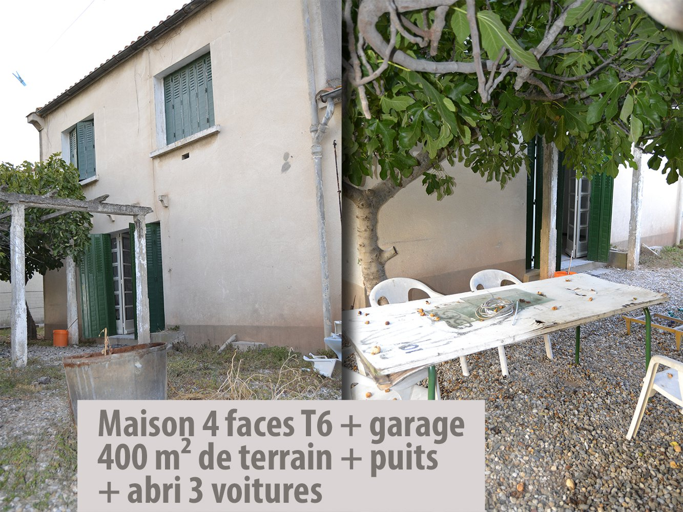 Maison 4 faces T6 + garage + jardin + abri voitures
