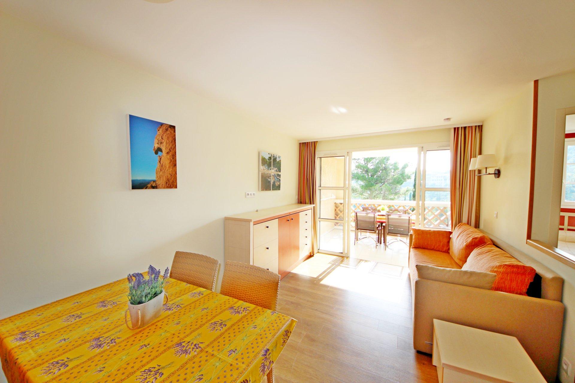 The living room of the Cap Esterel apartment