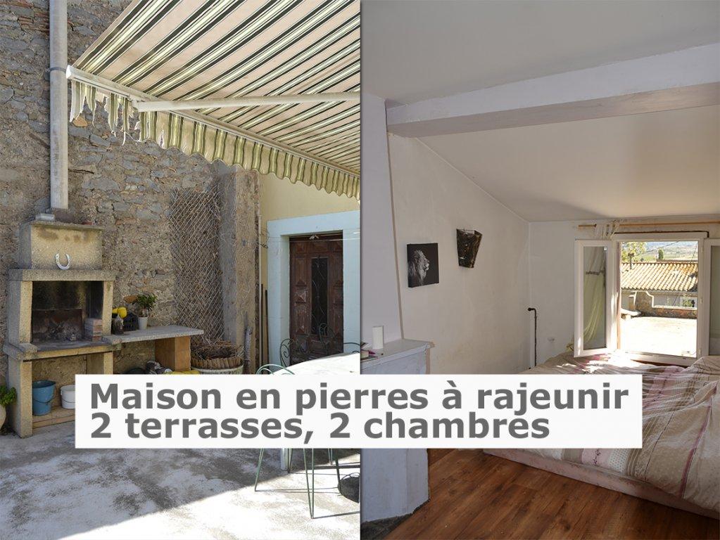 Maison en pierres 71 m² + grand garage et terrasse 21 m²