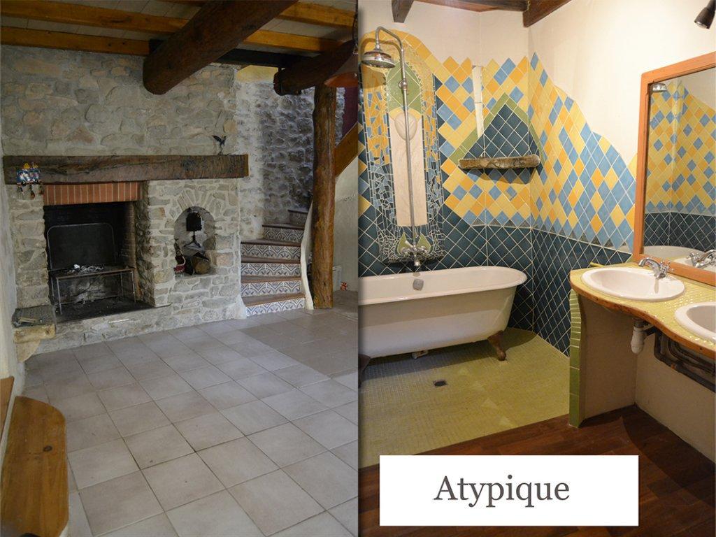Maison en pierres atypique + garage