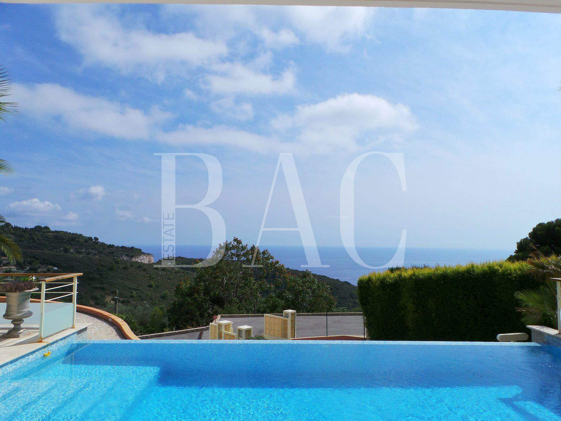 Eze, contemporary villa with panoramic sea view