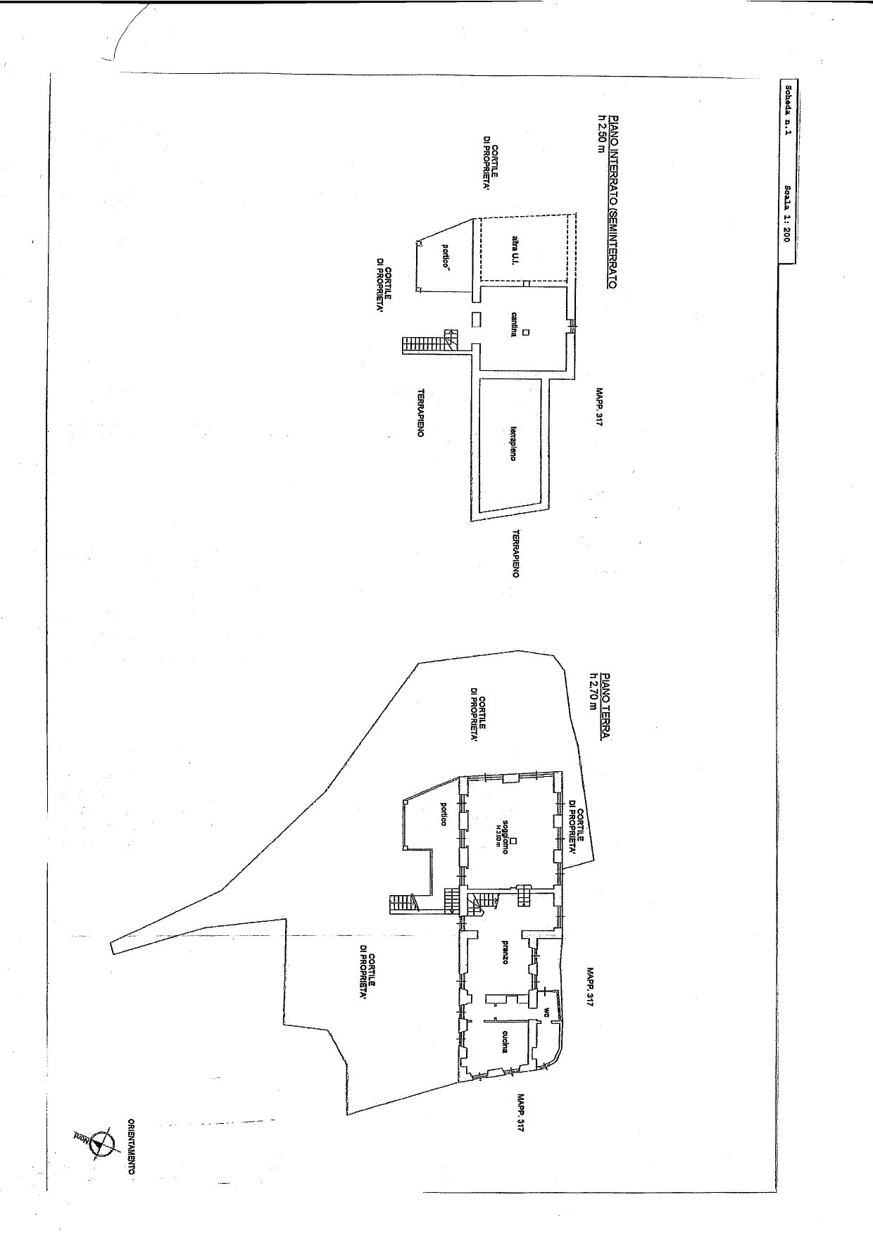 Floor plan of the house ground floor and basement