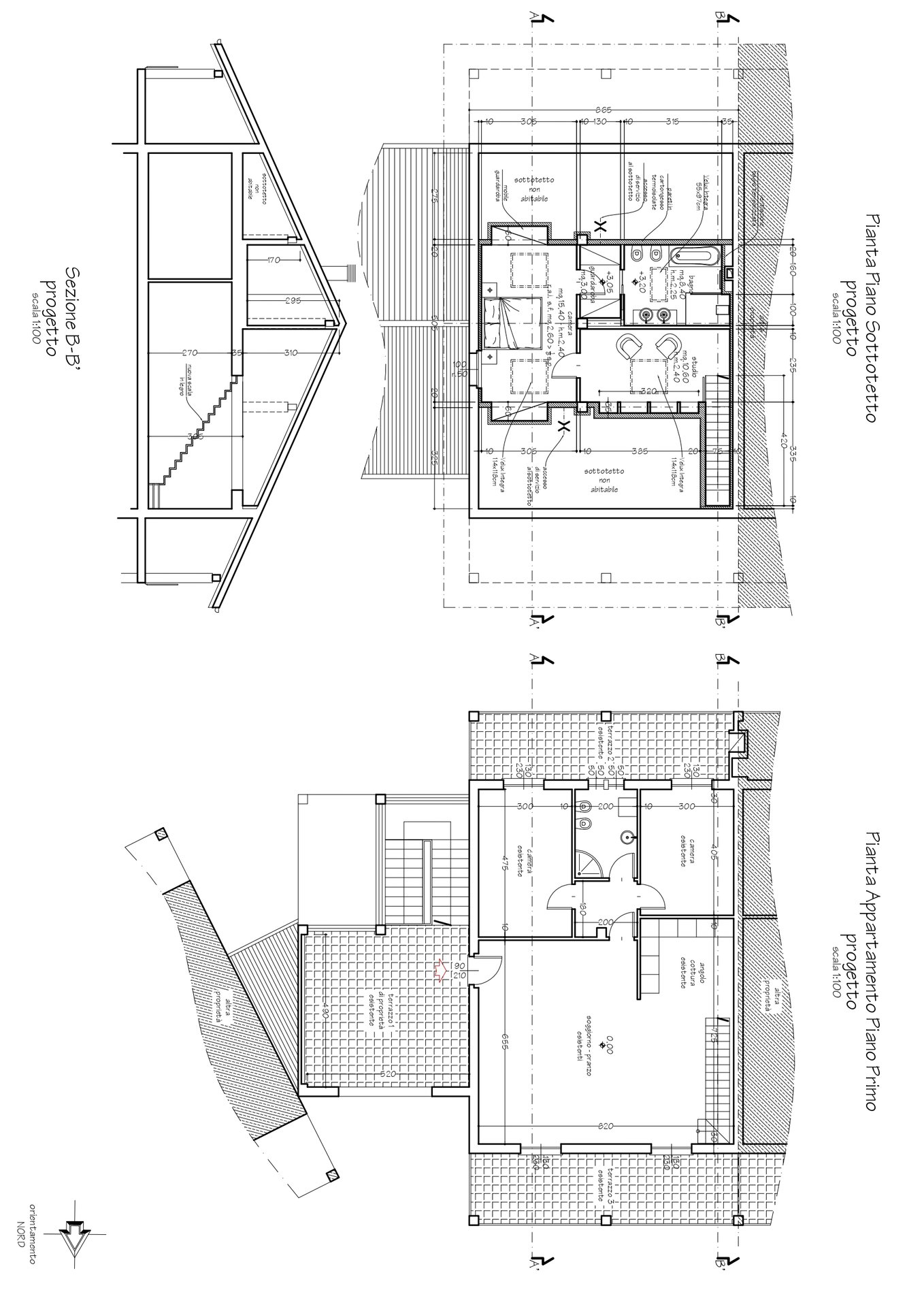 Floor plan of the apartment on the first floor plus attic
