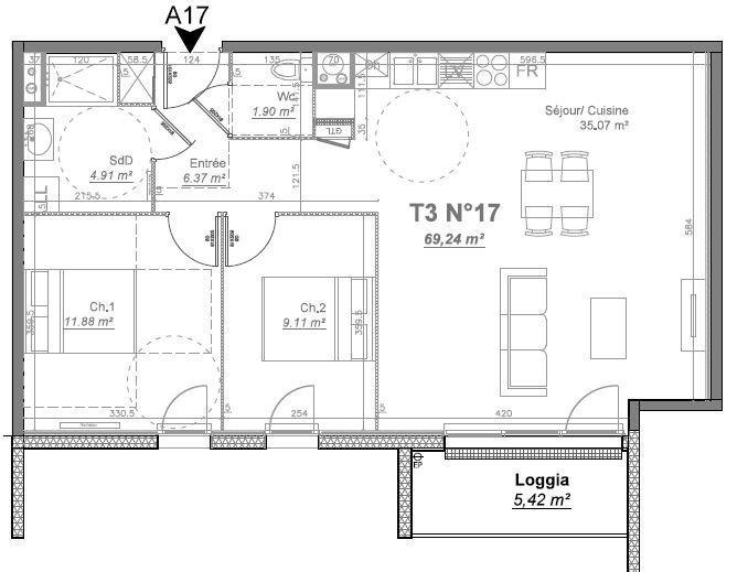 Le Mesnil Esnard 76240,  Appartement 3 pièces.