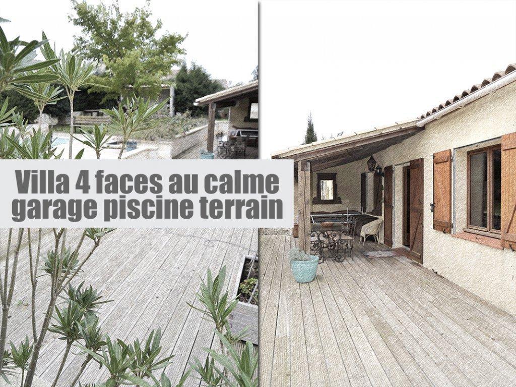 Villa non mitoyenne 3 chambres sur grand terrain + piscine