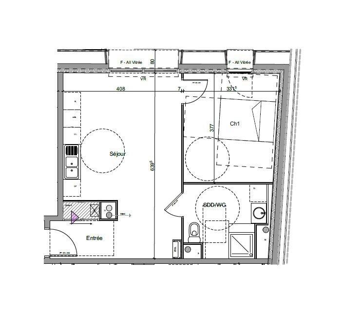 Rouen 76000, Appartement 2 pièces.