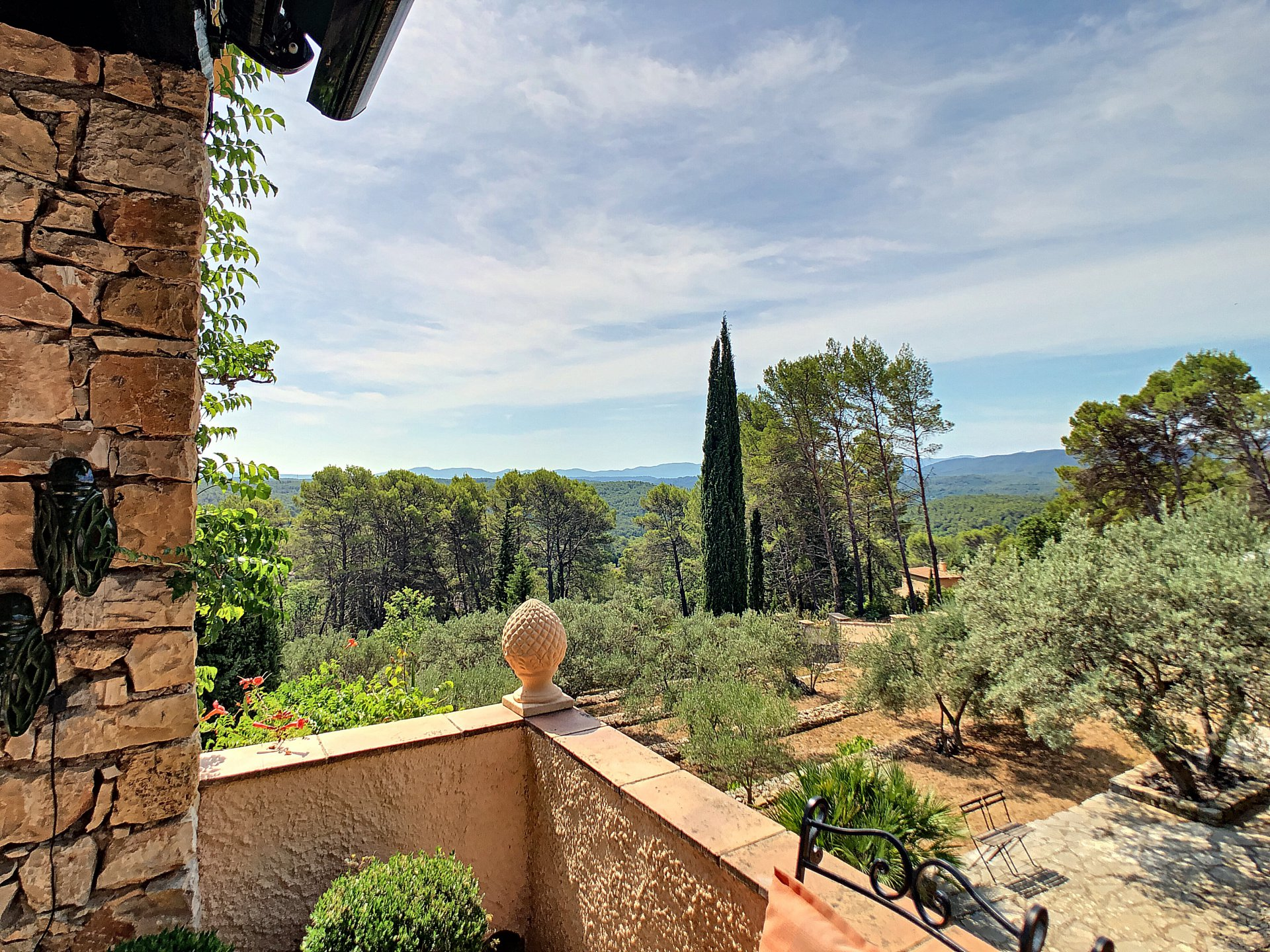 Amazing view, house with an appartment, a garage, a pool and a 7400m2 olivegrove