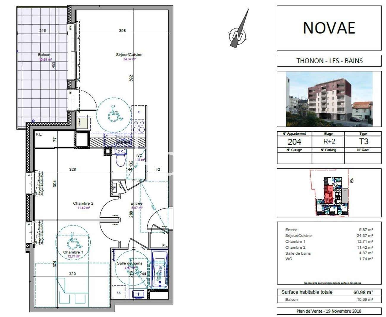 Vente de appartement d'une surface de 60.98 m2
