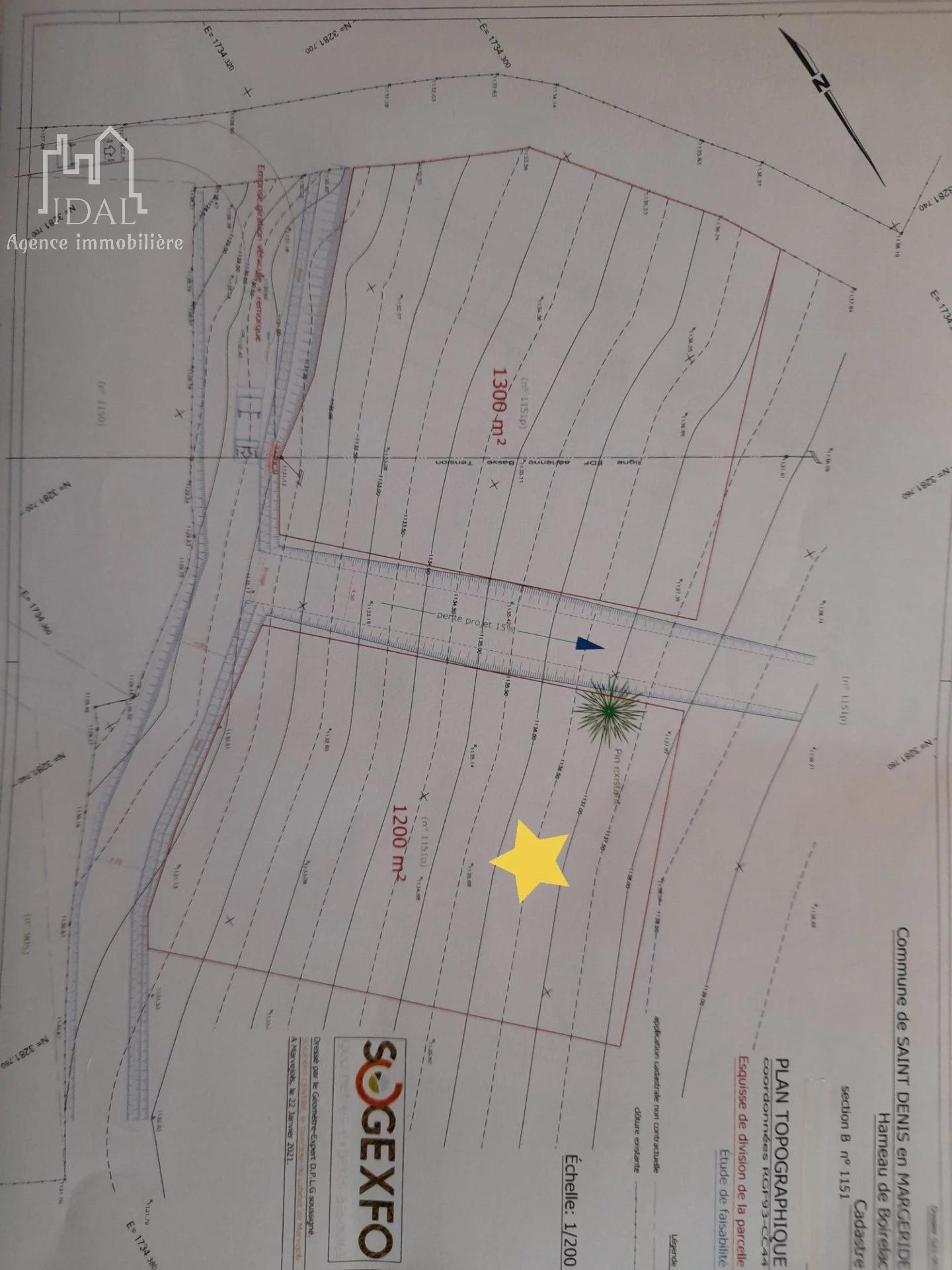 Dernier lot-Boirelac(St Denis en Margeride)-Terrain 1300 m² constructible