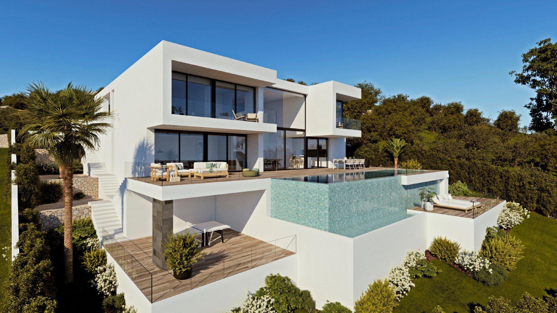 Exclusieve en moderne villa met panoramisch uitzicht op zee