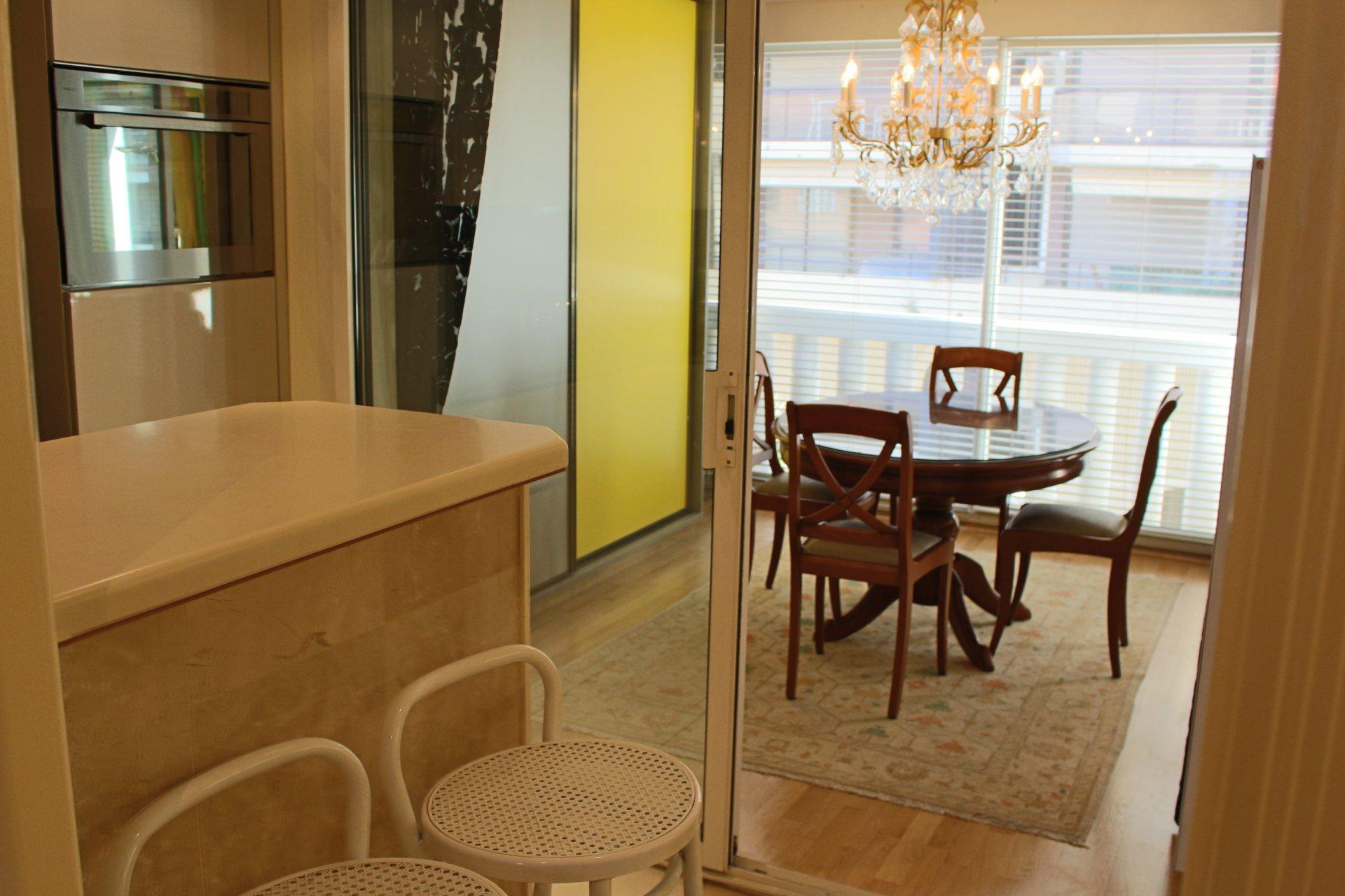 Kitchen bar, chandelier, stainless steel