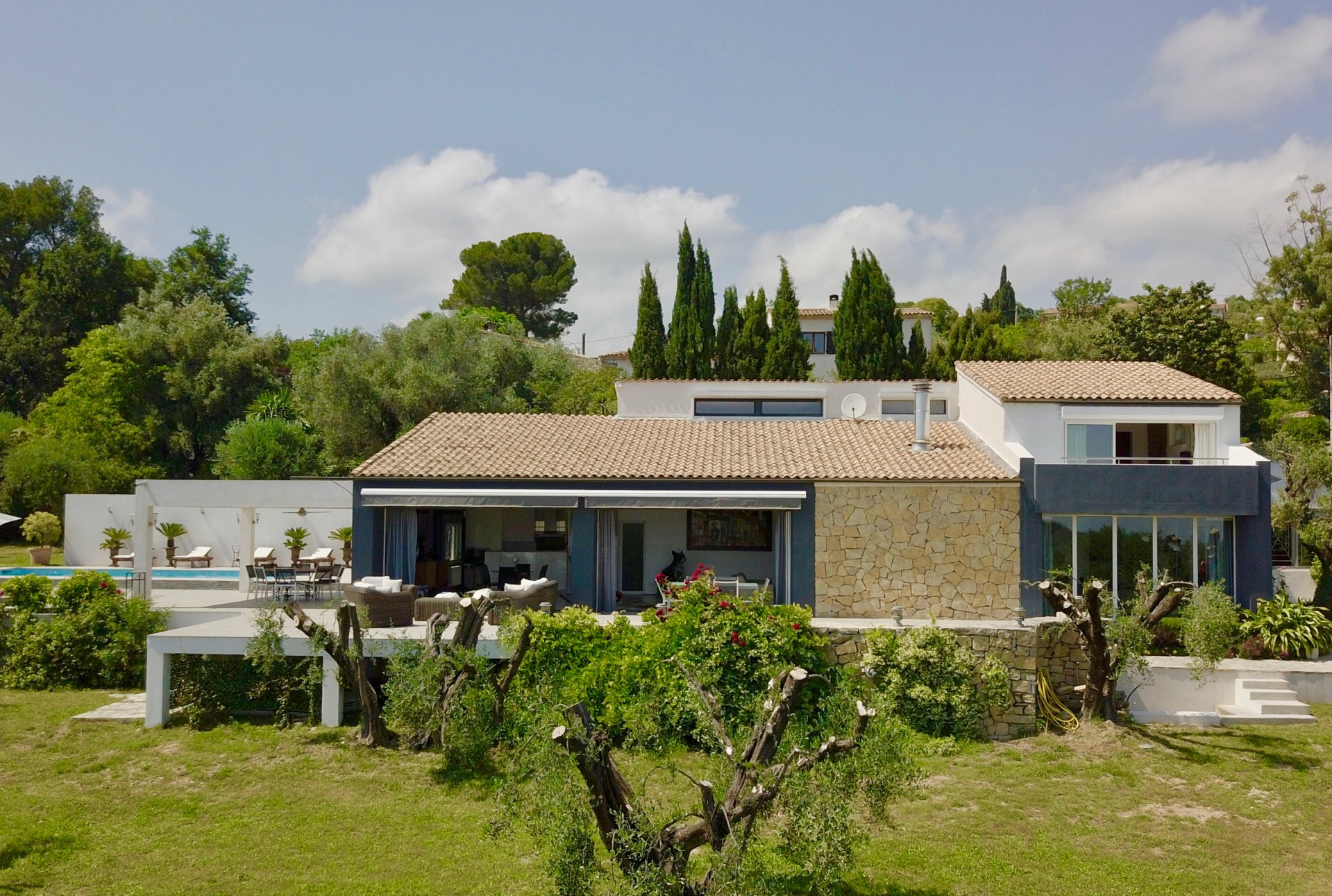 Bauhaus style villa in olive grove with sea view
