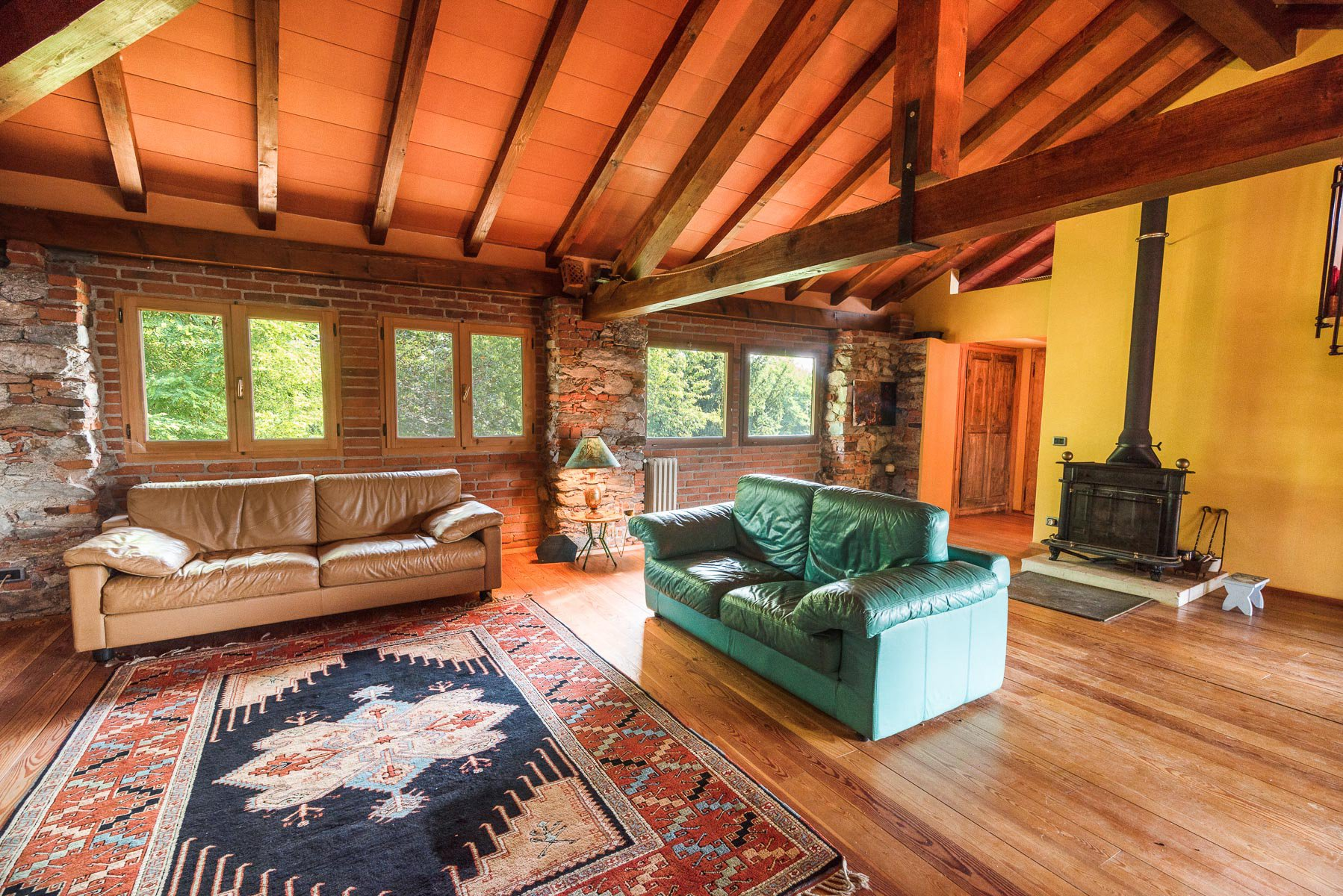 Trait house of land for sale in Paruzzaro-  living room with view
