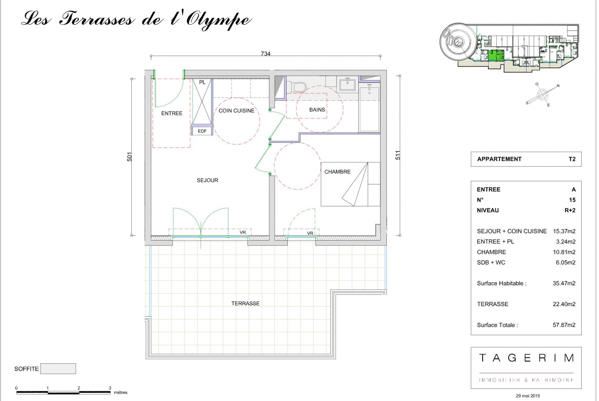 Appartement 2 pièces 35m²+terrasse 22m²+parkings