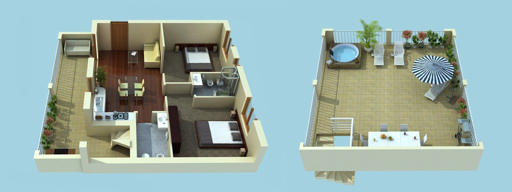 Penthouse - 2 bedrooms - sea views - pool