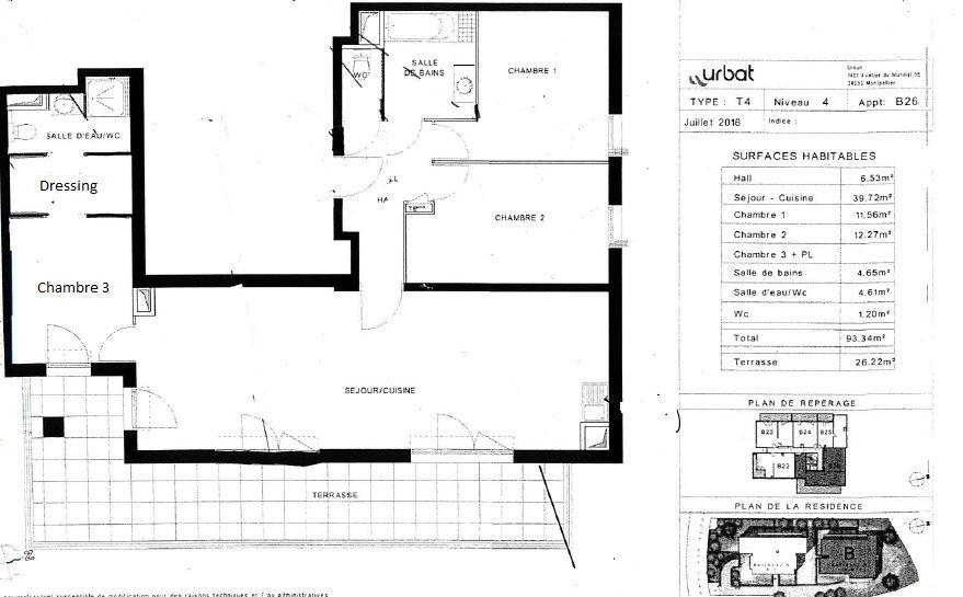 APPARTEMENT - LES CAMOINS - MARSEILLE 13011 - TYPE 4 de 93.34 m² avec terrasse de 26.22 m²