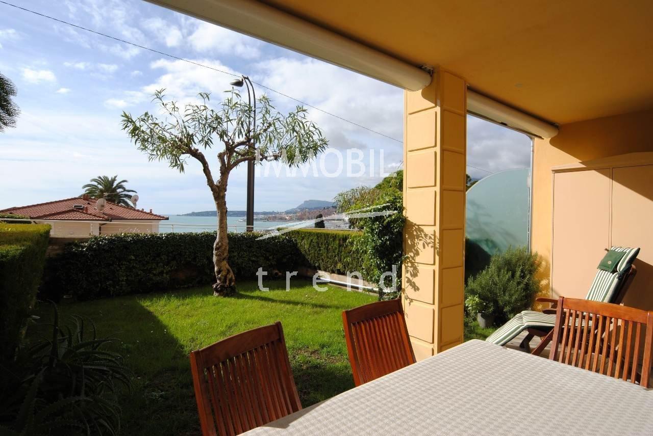 EXCLUSIVITE - MENTON GARAVAN - charmant 2/3 pièces vue mer avec jardin.