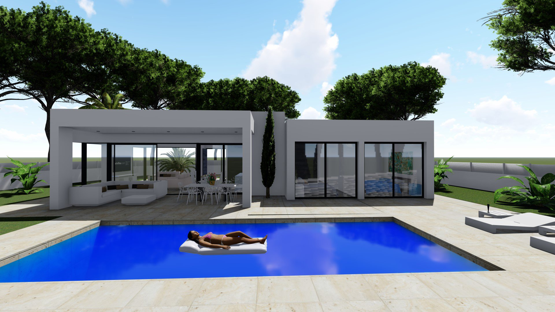 One-floor villa with 3 bedrooms at 500m from the sea
