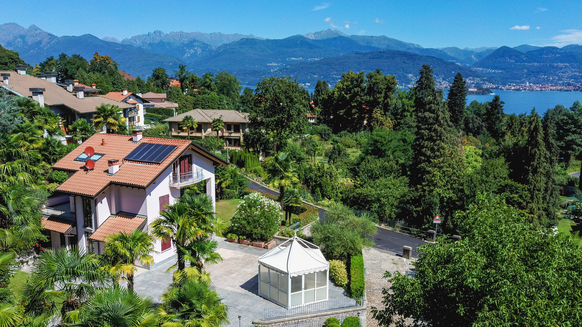 Modern villa near Stresa center - panoramic drone view