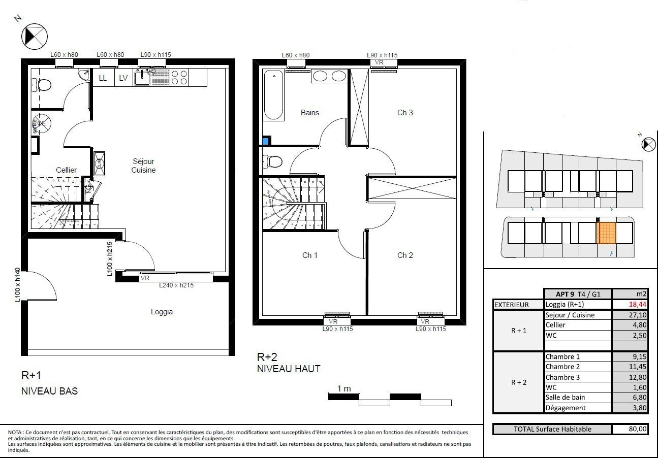 Appartement T4 de 80 m2 avec terrasse de 19 m2