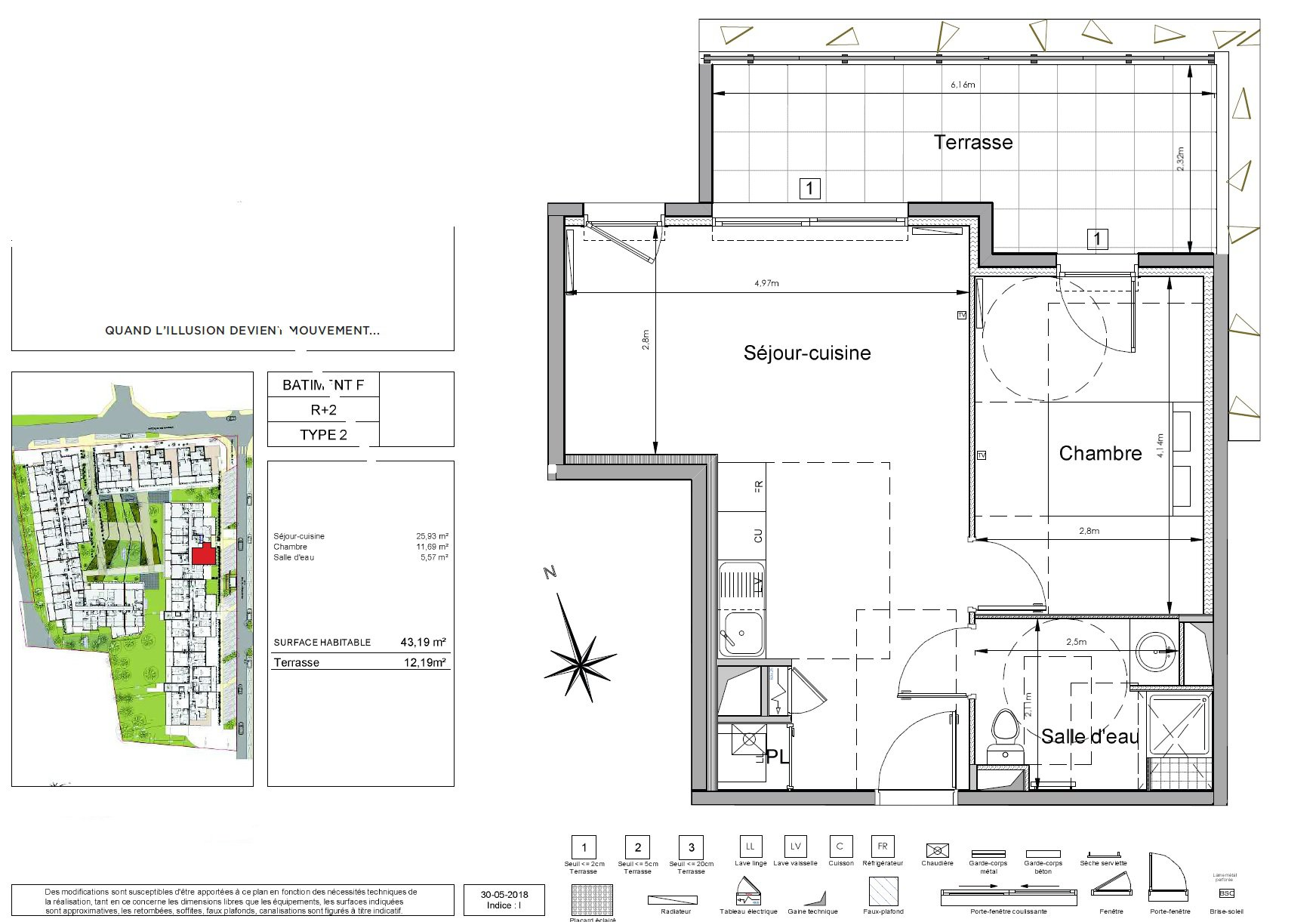 Appartement au dernier étage en résidence