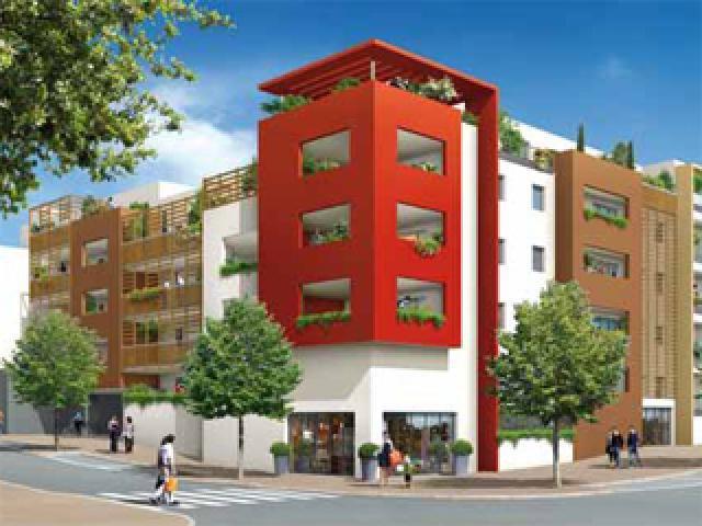 joli T2 à St Jean de Védas, résidence Oaky, 46.2 m2, rez de jardin, exposition sud est, avec une loggia de 14.