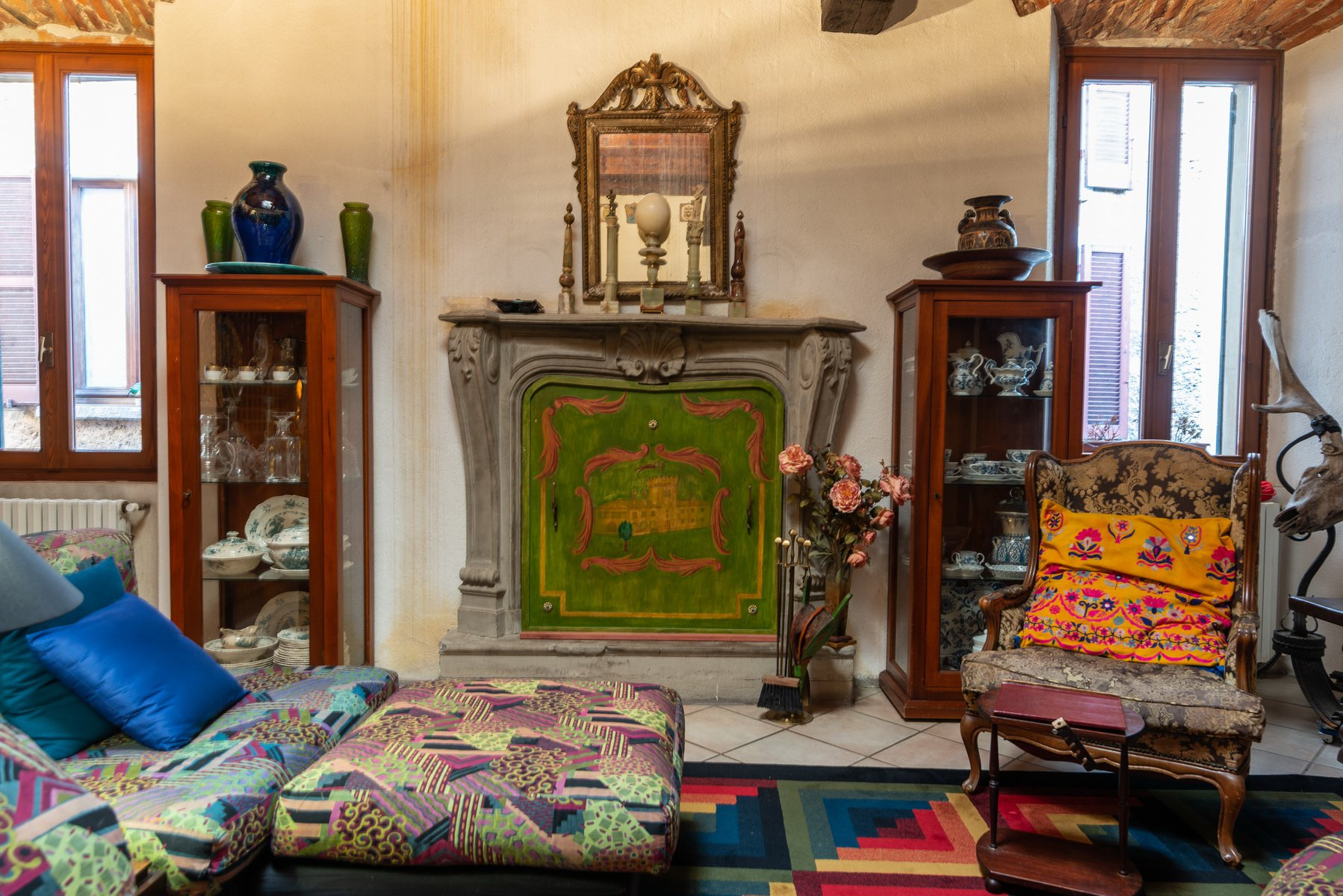 Historic house in Lesa- fireplace
