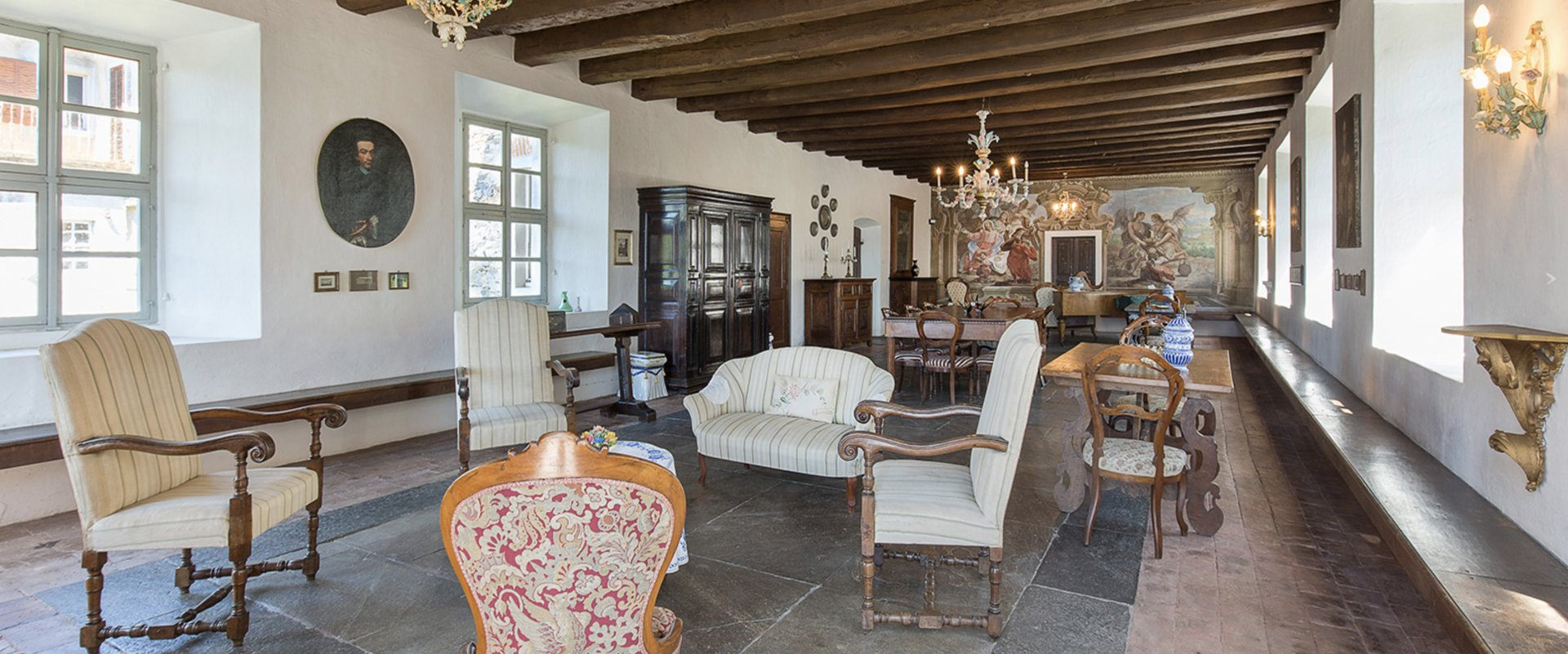 Historic property former convent for sale in Orta - sitting room