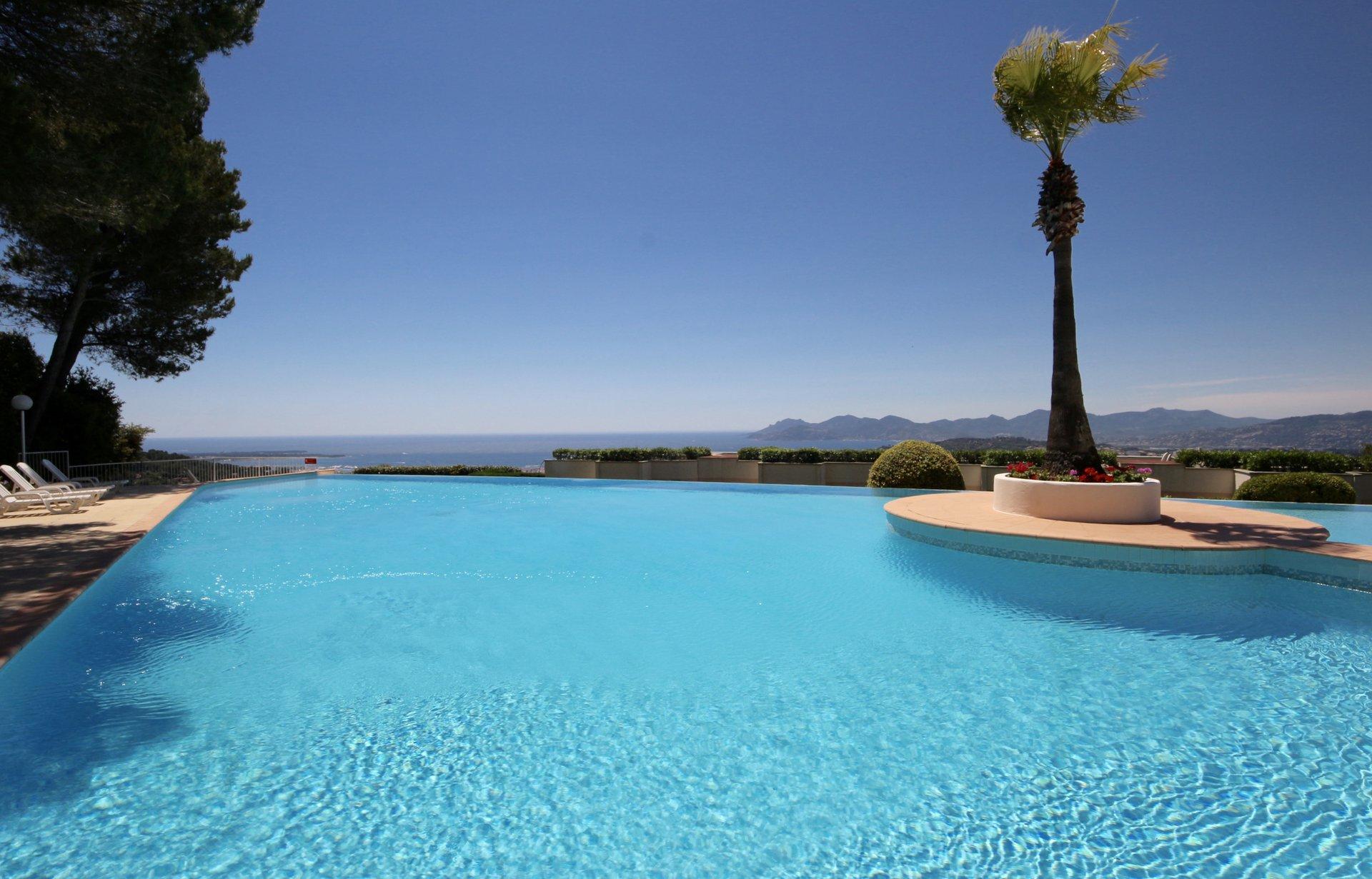 Le Cannet/Mougins, Superbe 2P. 50m2  avec garage et cave, superbe piscine vue mer
