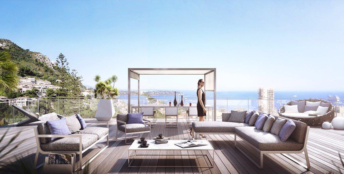 Programme Neuf de Luxe- T3 avec vue imprenable sur Monaco- Terrasse 73m² et garage