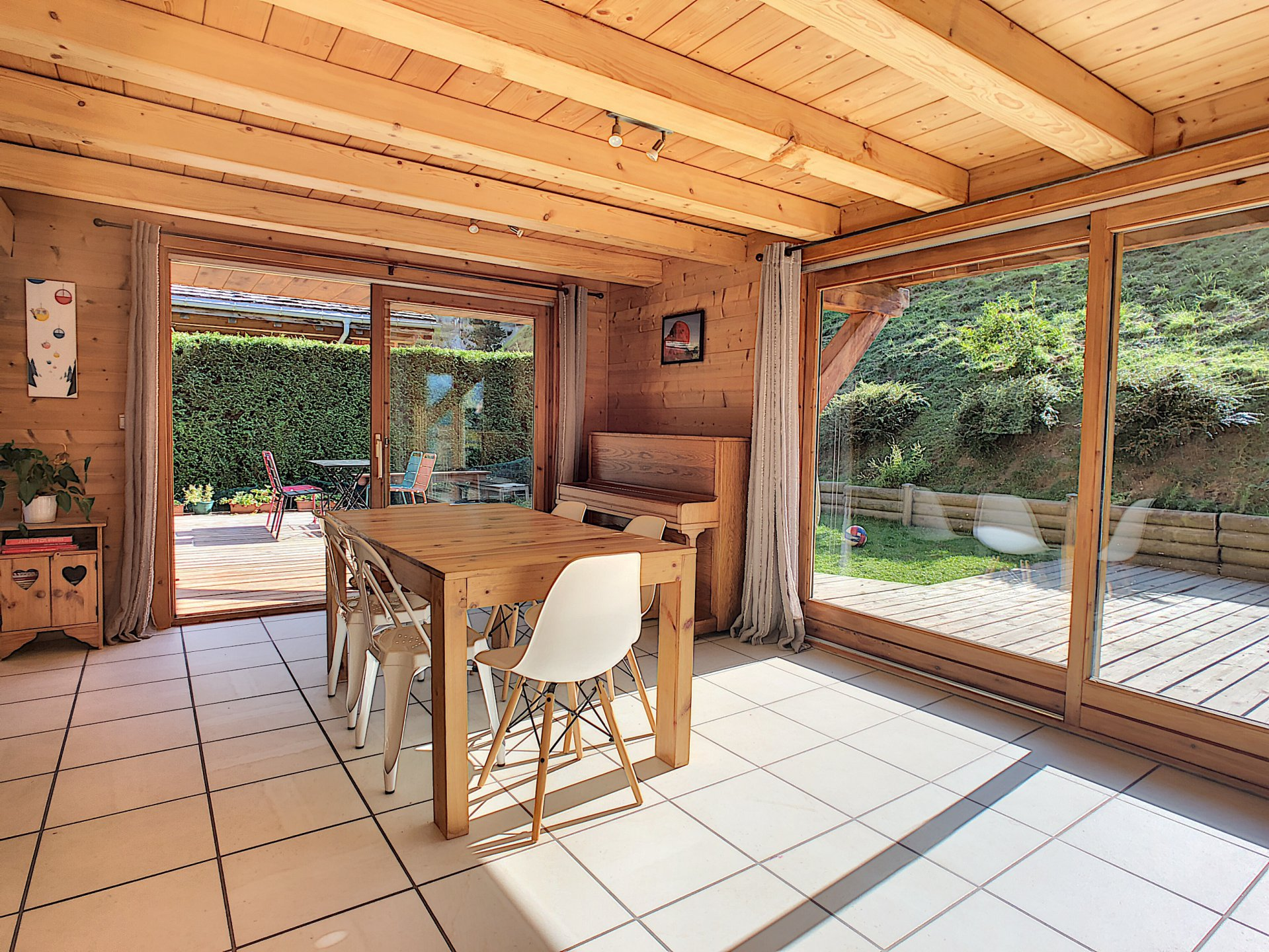 Dining area with double patio doors