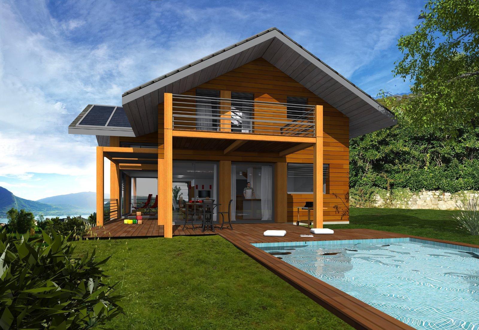 Talloires - Villa Ossature Bois de type T5 de 224m² sur terrain 1'016m² vue Lac