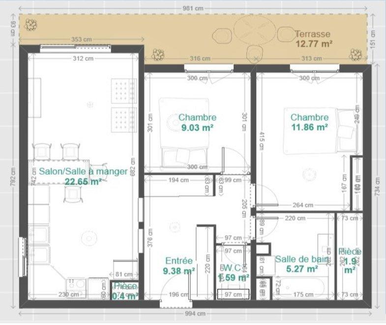 Colline Nice OUEST -  3P 61m² + terrasse avec garage et cave