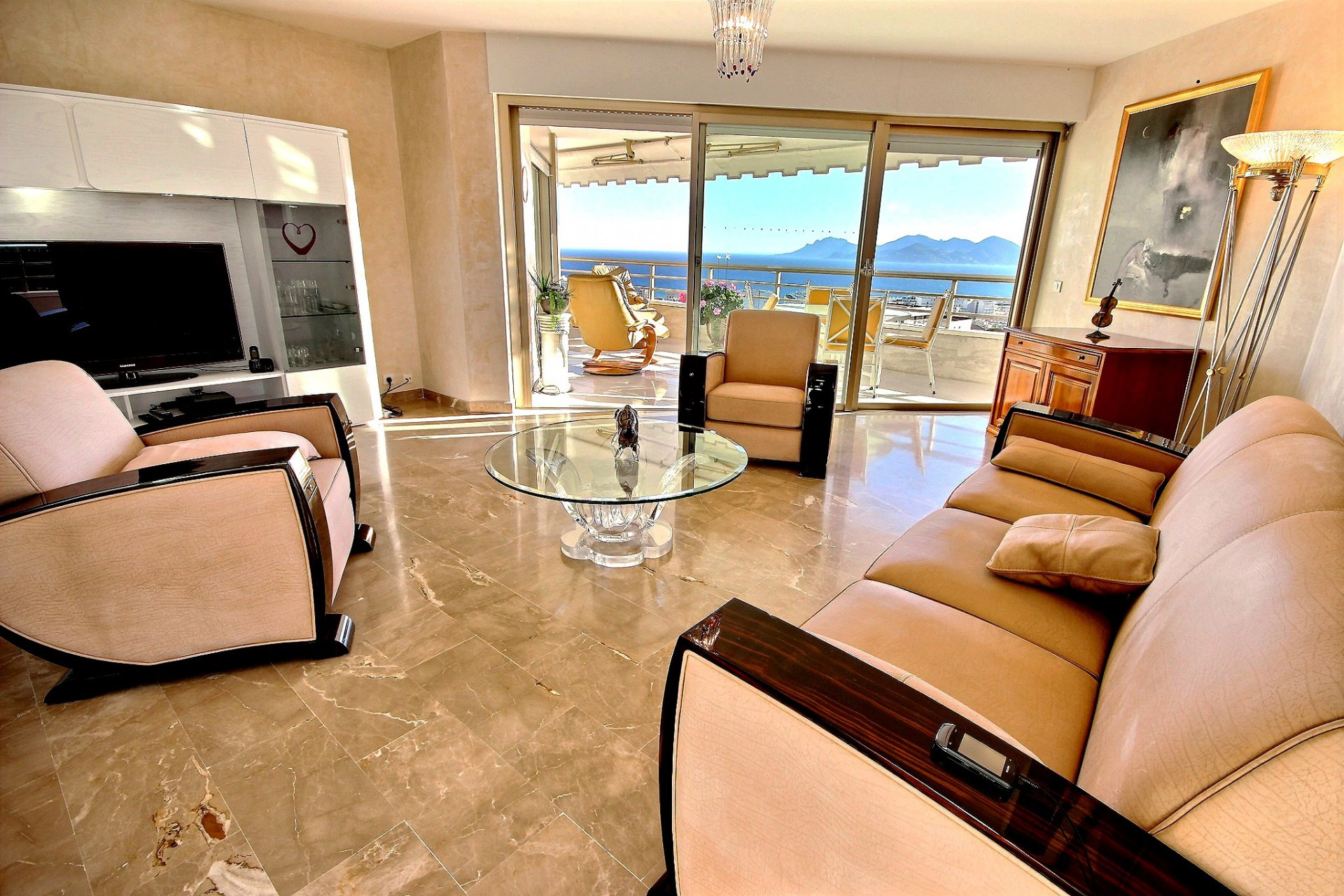 Beautiful property for sale in Cannes Californie with terrace sea view and swimming pool living room