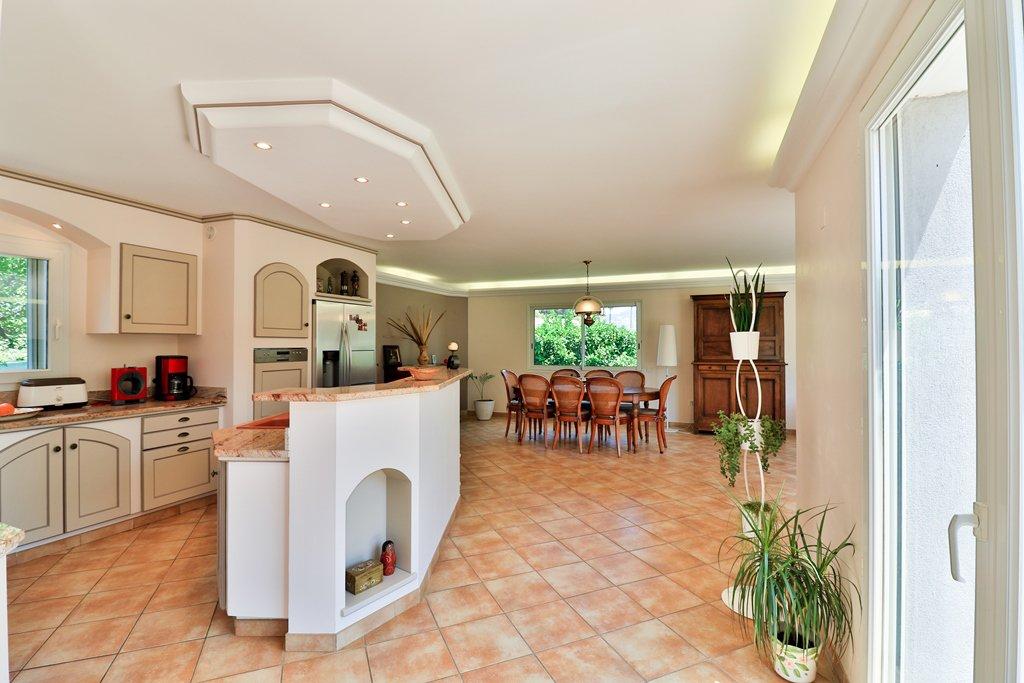 Kitchen island, stainless steel, chandelier