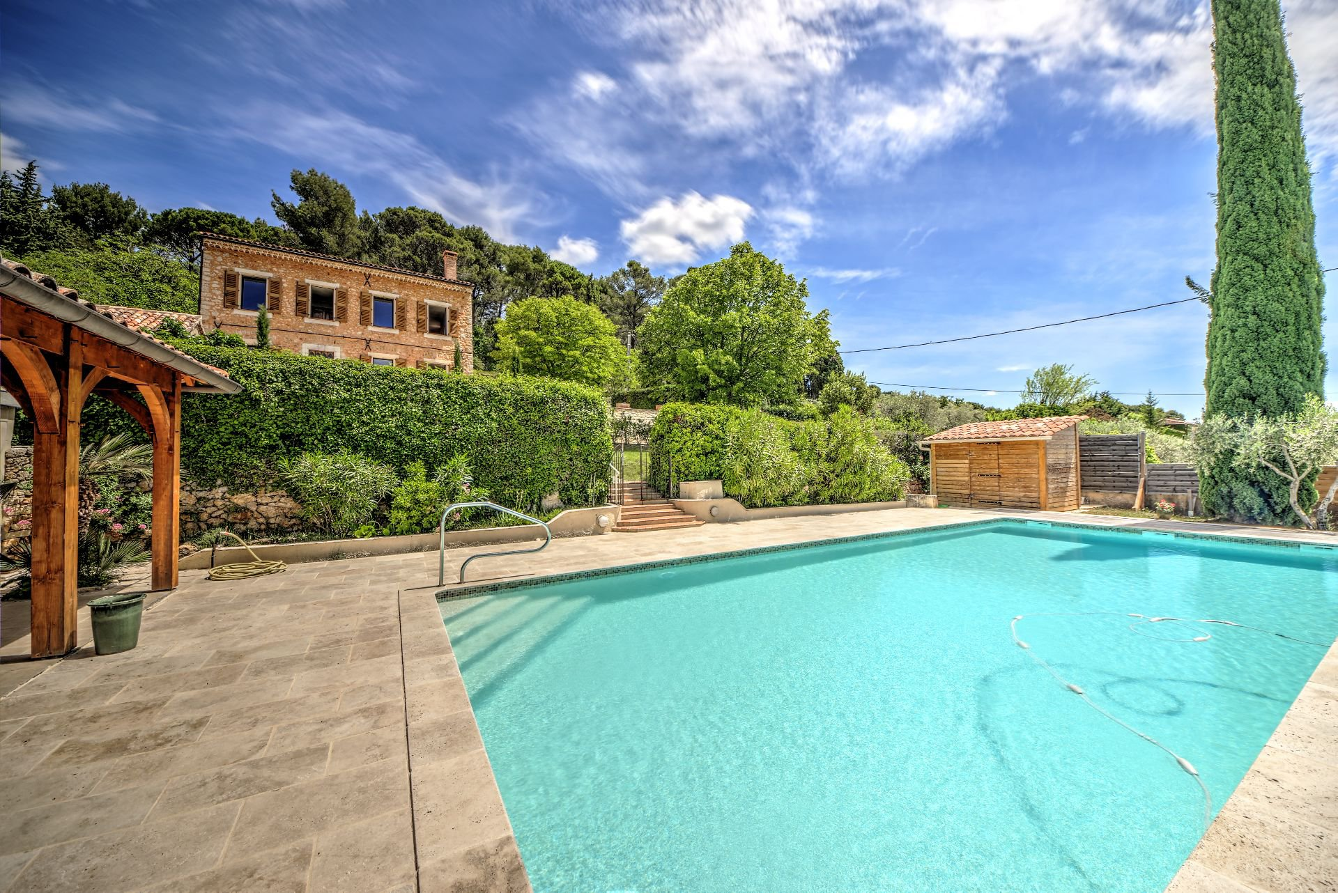 View of the pool from the house renovated 5 bedroom, 318 sqm, Aups, Var, Provence, Verdon