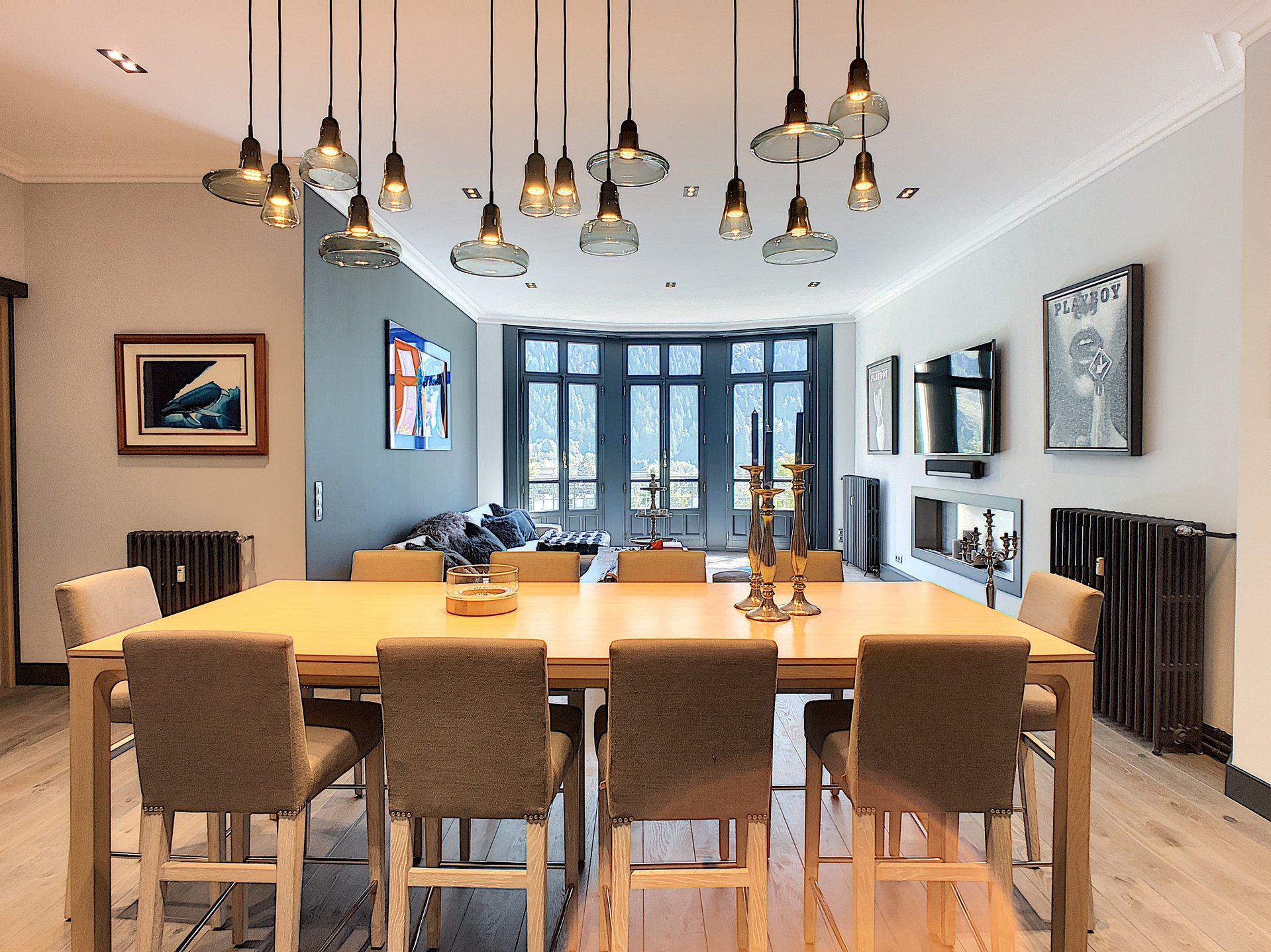 Open plan dining room and living room
