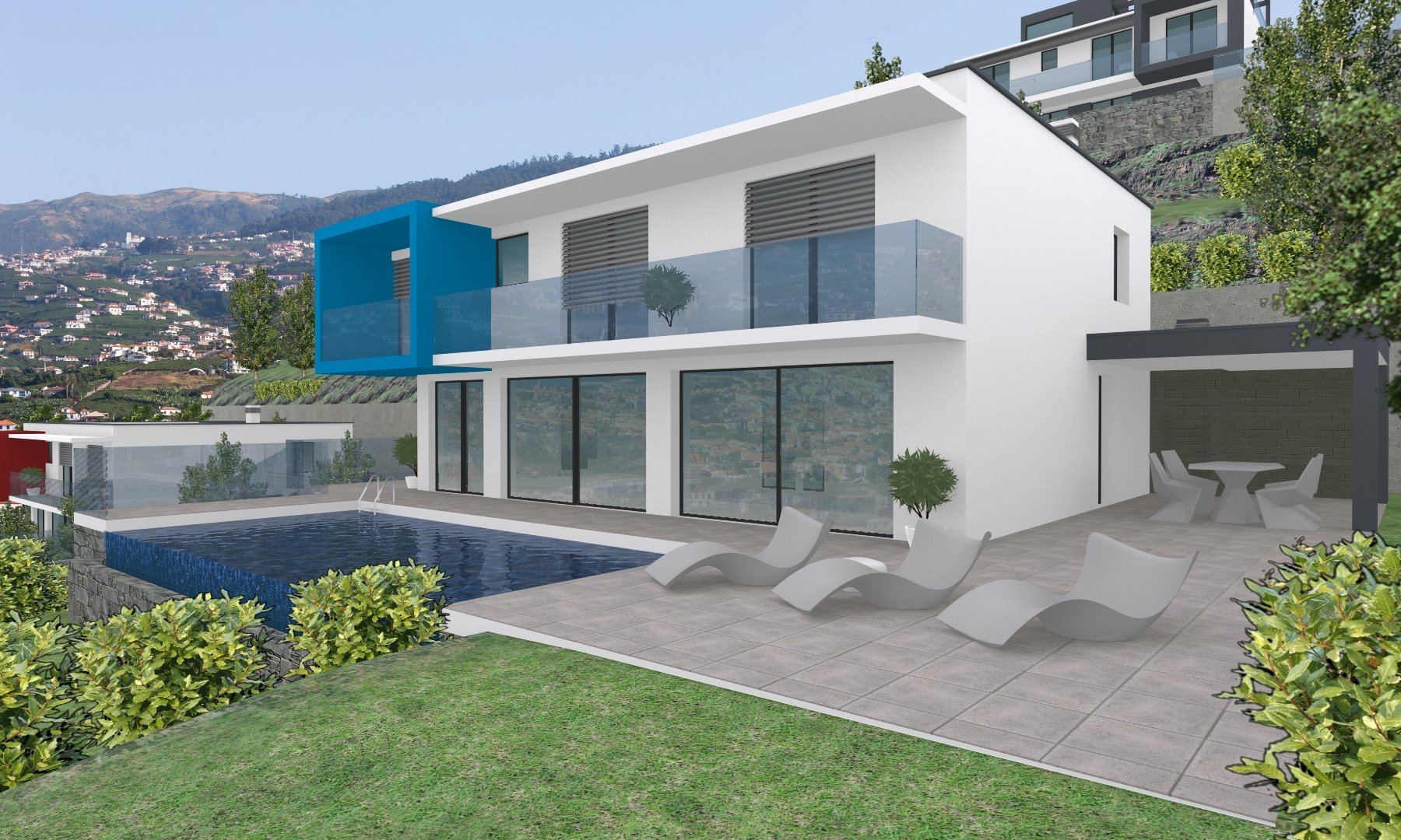 New contemporary house with pool and views of the bay of Funchal