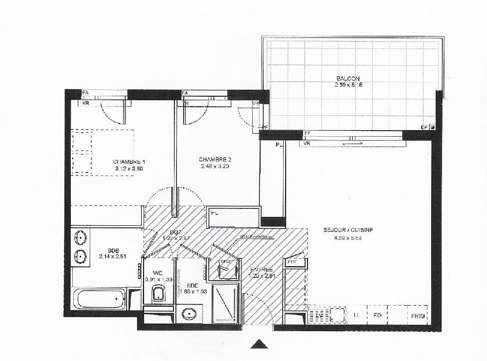 ANTIBES - 3-roms leilighet under oppføring i standsmessig residens med svømmebasseng