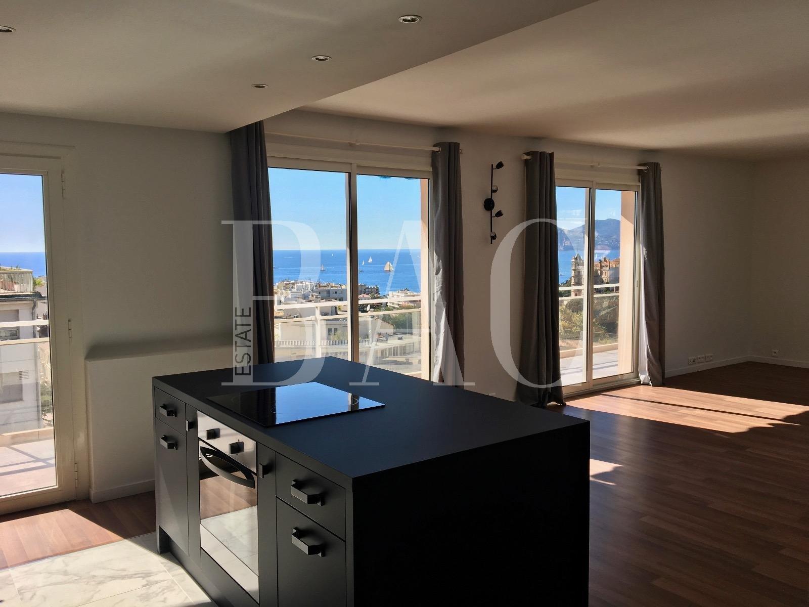Канны, красивая квартира площадью 100 м2 плюс терраса на верхнем этаже с прекрасным видом на море и всего в 550 метрах от рынка Форвиль