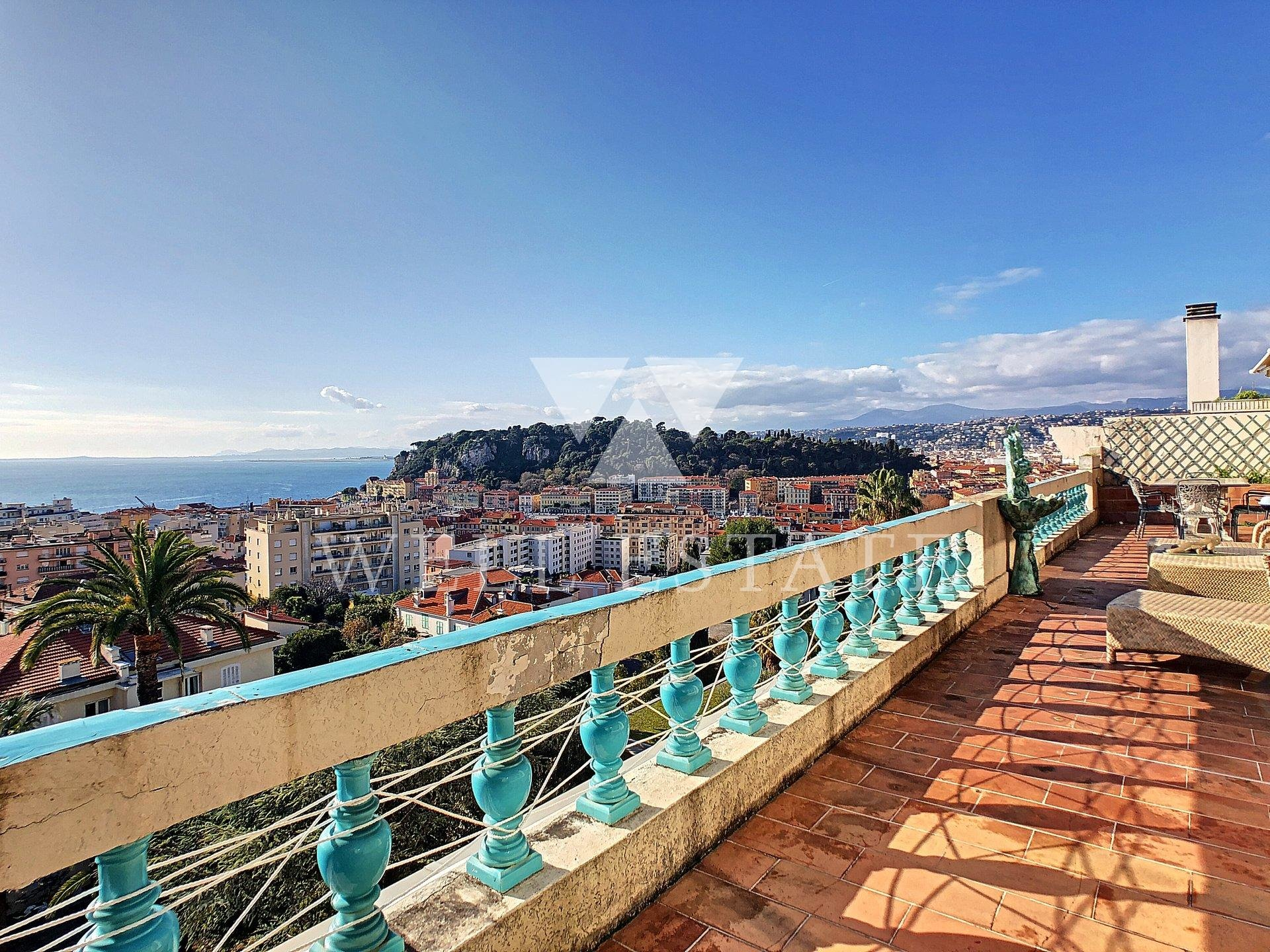 NICE MONT BORON LAST FLOOR 166M2 AND 40M2 TERRACE PANORAMIC SEA VIEW