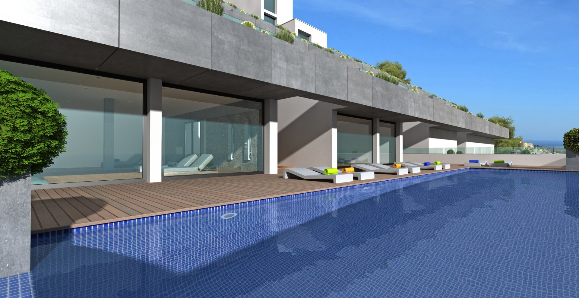 Nieuwbouw appartement met een panoramisch uitzicht op zee