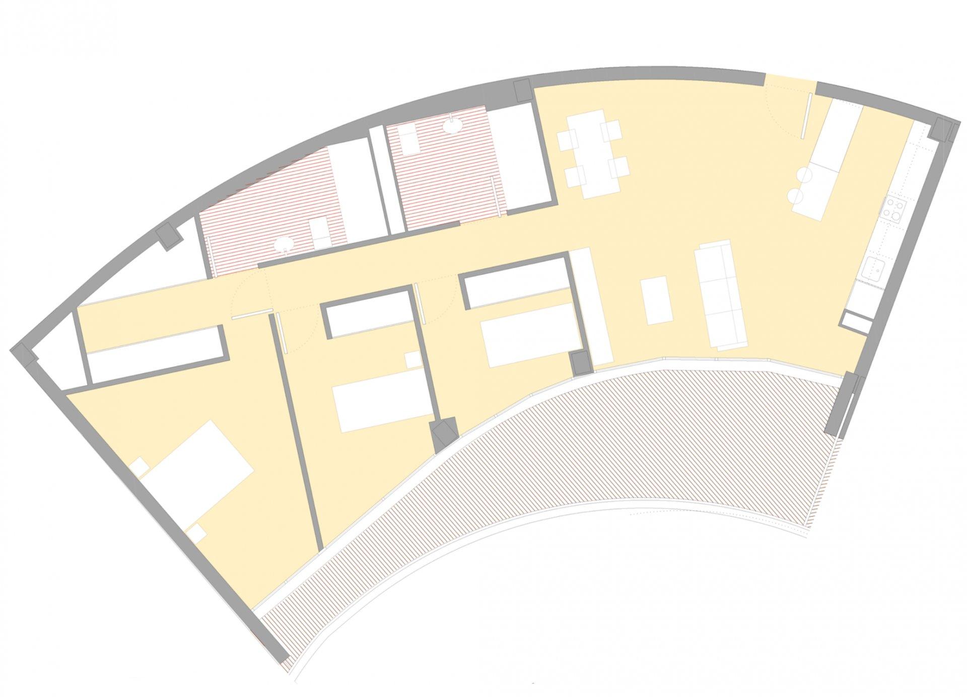 Appartement avec 3 chambres dans un nouveau complexe
