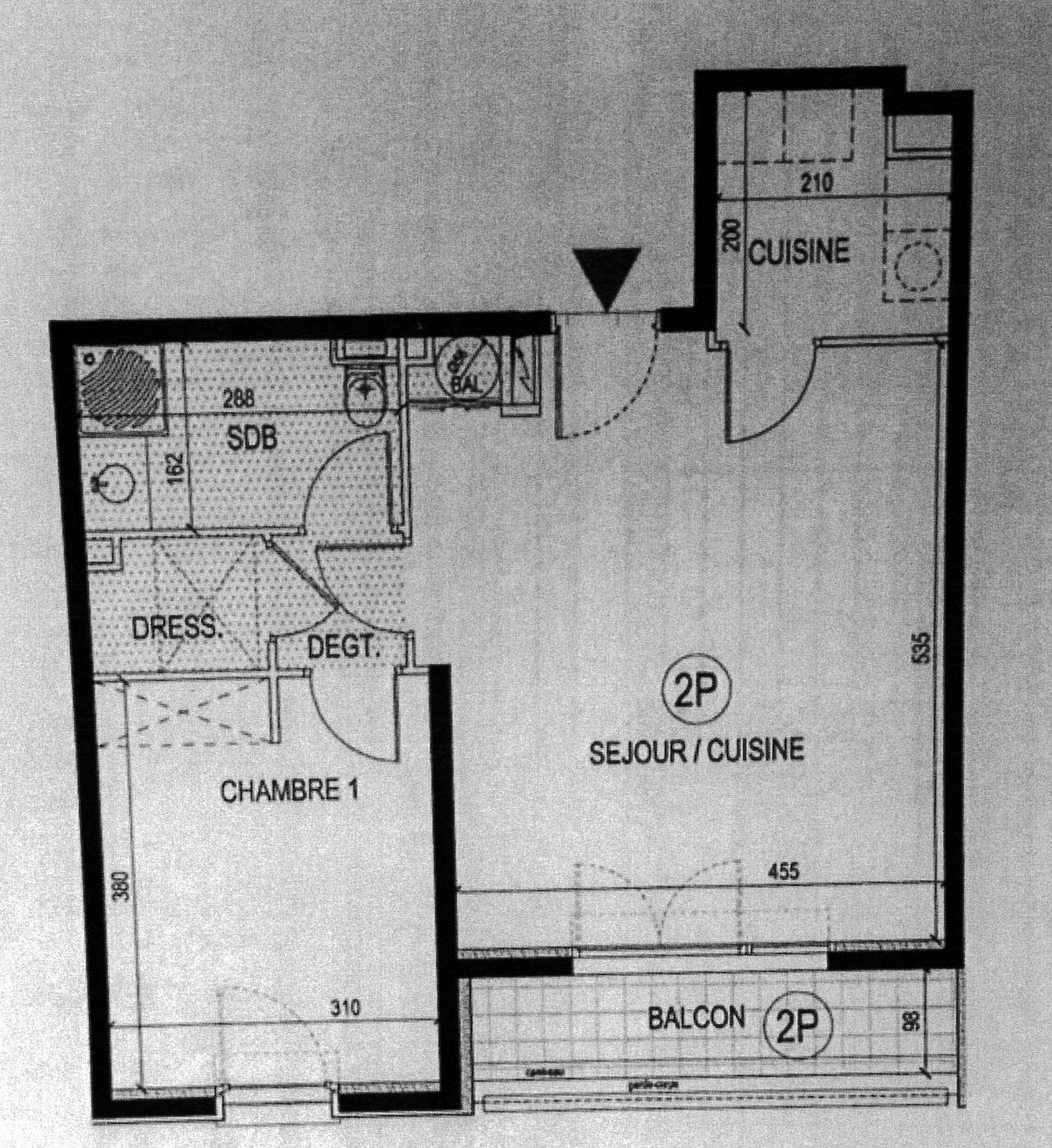 Nice Gambetta Promenade 2p étage élévé plan