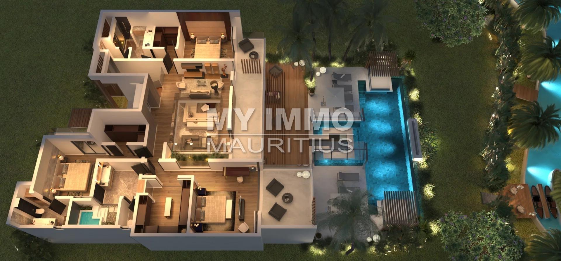New high standing villa 3 bedrooms Cap Malheureux