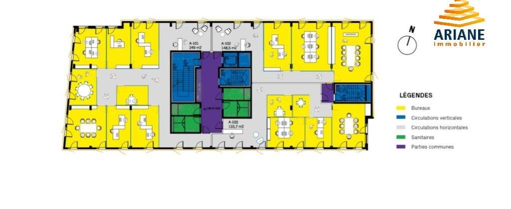 Bureaux à vendre décines 69150 divisible 314 m2 avec terrasse