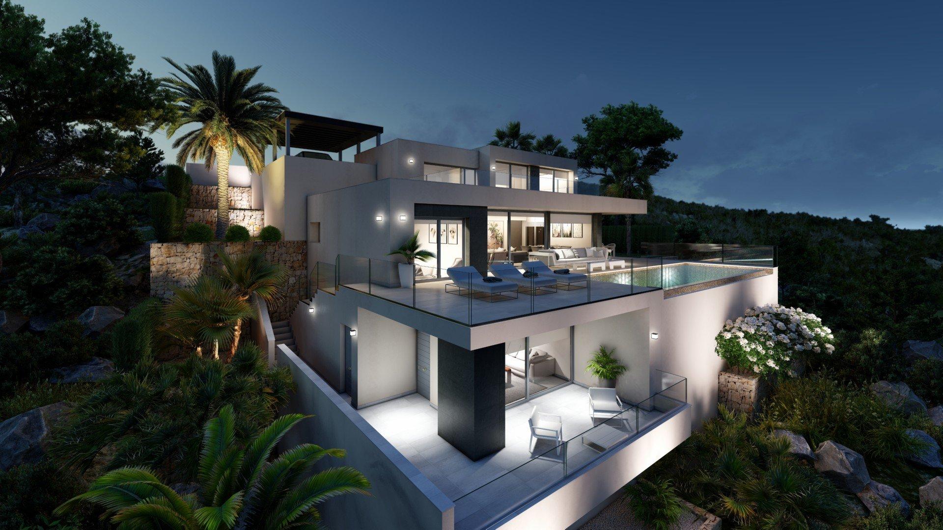 Villa moderne de luxe avec vue panoramique sur la mer