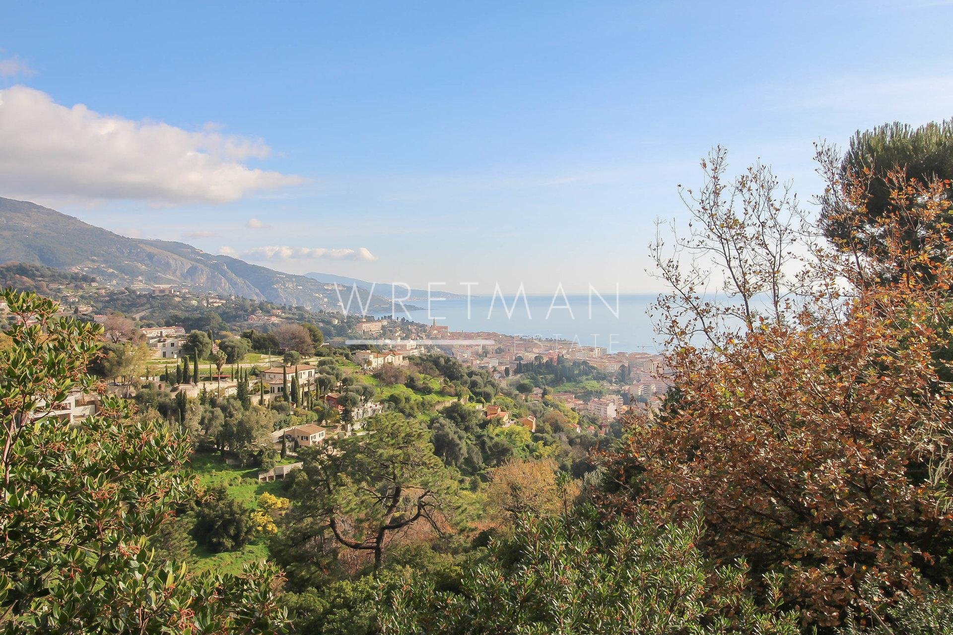 Contructable landlot with panoramic sea views - Menton Madone