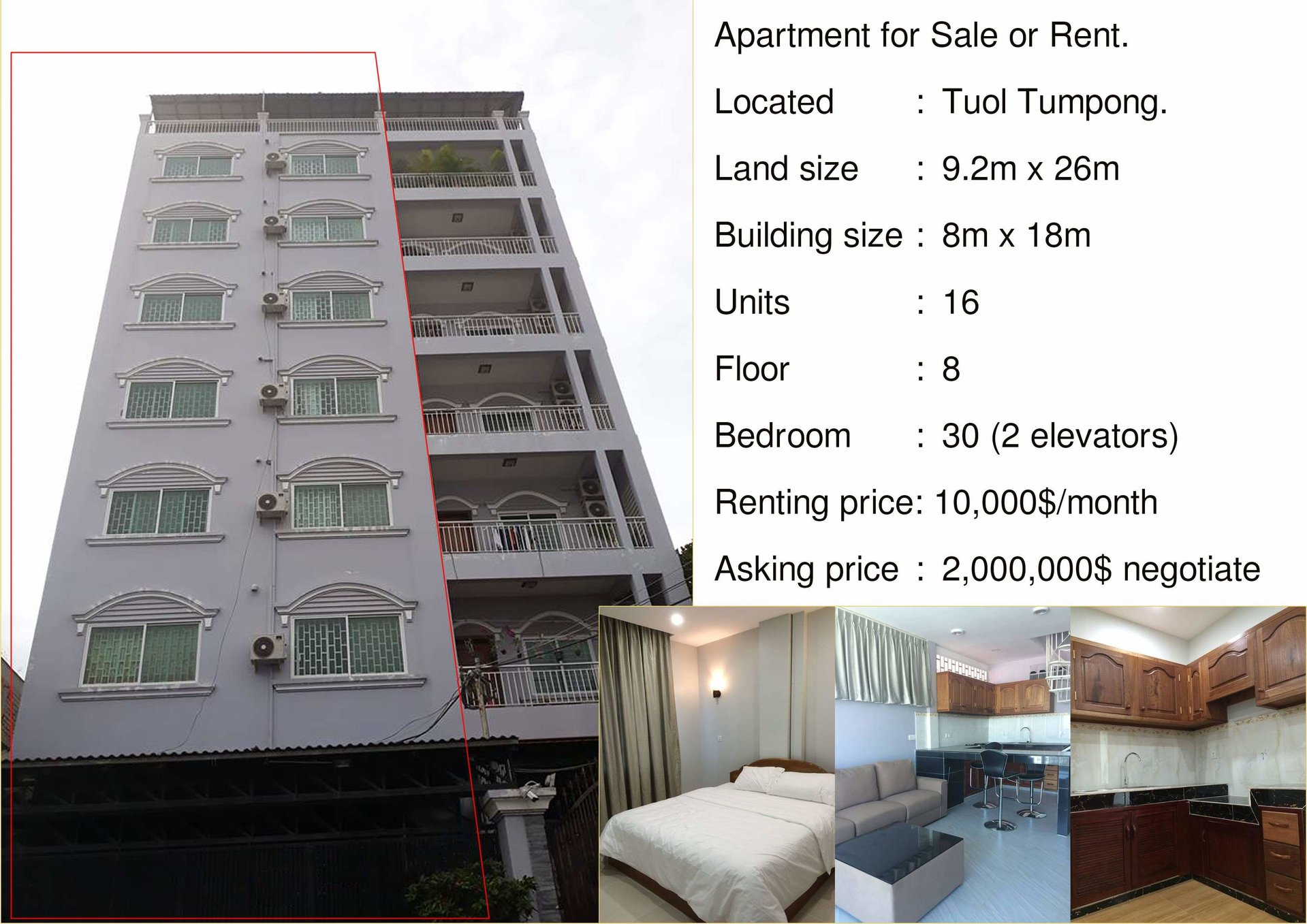 Sale Apartment Chamkarmon Toul Tum Poung 1